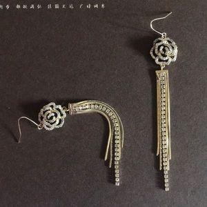 Diamond & gold rose earrings
